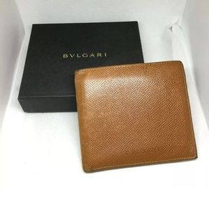 Authentic Bulgari Brown Leather Wallet w/Box